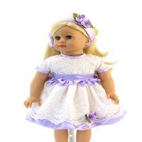 "Purple and White Lace Dress with Headband  -Fits 18"" American Girl Dolls, Madame Alexander, Our Generation, etc. 