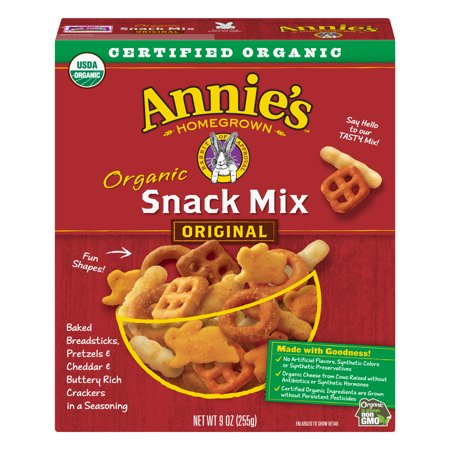 (2 Pack) Annie's Organic Snack Mix Breadsticks Pretzels & Cheddar Crackers 9 oz - Sweet Halloween Snack Mix