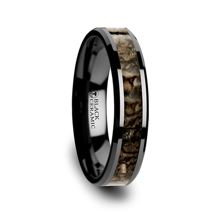 SILURIAN Dinosaur Bone Inlaid Black Ceramic Beveled Edged Ring - 4mm & 8mm 8 Mm Ceramic Ring