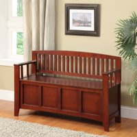 Linon Cynthia Storage Bench, Walnut
