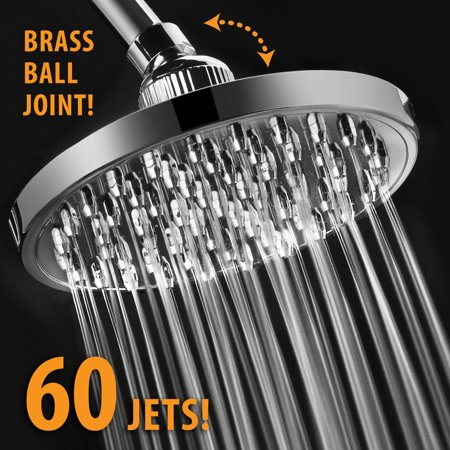 Luxury High-Pressure All-Chrome 6-inch Rainfall Shower Head with 60 Jets and Solid Brass Angle-Adjustable Ball Joint Brass 8 Jets Showerhead