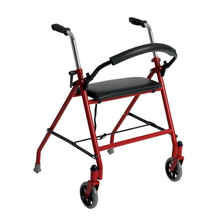 Drive Medical Two Wheeled Walker with Seat, Red ()