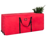 Best Choice Products Rolling Duffel Holiday Decoration Storage Bag for Up To 9ft Christmas Tree w/ 600D Polyester Fabric, Wheels, Handle - Red