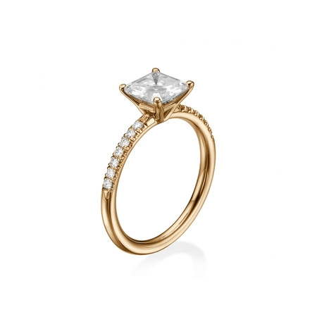 D-F VS 6.50MM Forever One Moissanite Engagement Ring With Diamonds (0.42 ct Moissanite Weight, 1.44 ctw dew) Asscher Cut 14K Gold ()