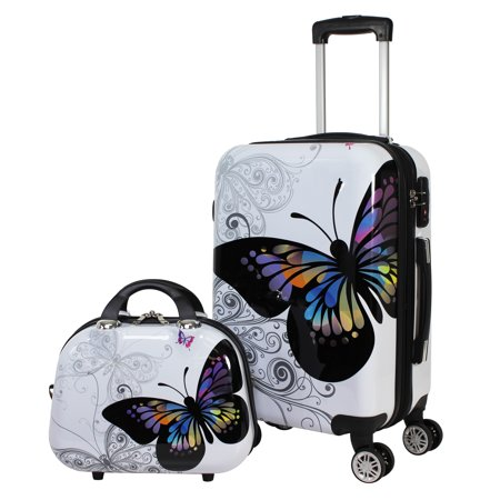 - Butterfly 2 Piece Hardside Carry-on Spinner Luggage Set - Butterfly