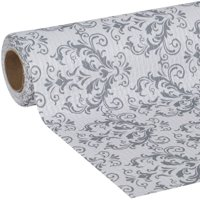 Duck Smooth Top Easy Liner 20 In. x 6 Ft. Shelf Liner, Grey Damask