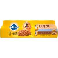 Pedigree Chopped Ground Dinner Combo with Chicken, Liver & Beef and Beef, Bacon & Cheese Flavor Adult Canned Wet Dog Food Variety Pack, (12) 13.2 oz. Cans