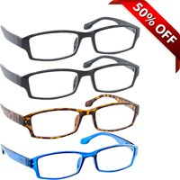Reading Glasses +3.25 | 4 Pack of Readers for Men and Women | 2 Black Tortoise Blue