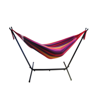 Mainstays Striped Hammock with Metal Stand Deluxe Set Includes Portable Carrying Case