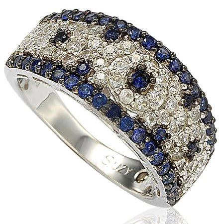2.28CT Sapphire and Diamond in Sterling Silver and 18K Abstract Gold Ring