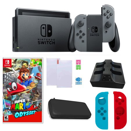 Factory Plug In Bundle - Nintendo Switch in Gray with Mario Odyssey Game and Accessories Bundle