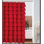Spring Design Flamenco Ruffle Shower Curtain RED