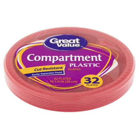 (3 pack) Great Value Red Plastic Compartment Dinner Plates, 10 1/4