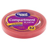 """Great Value Red Plastic Compartment Dinner Plates, 10 1/4"""", 32 Count"""