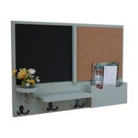 Large Slot Mail Orgainizer with Chalkboad, Cork Board, Coat Hooks & Mason Jar