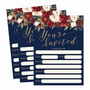 50 Floral Invitations Fall Bridal Or Baby Shower Invite Birthday Invitation Wedding Rehearsal Dinner