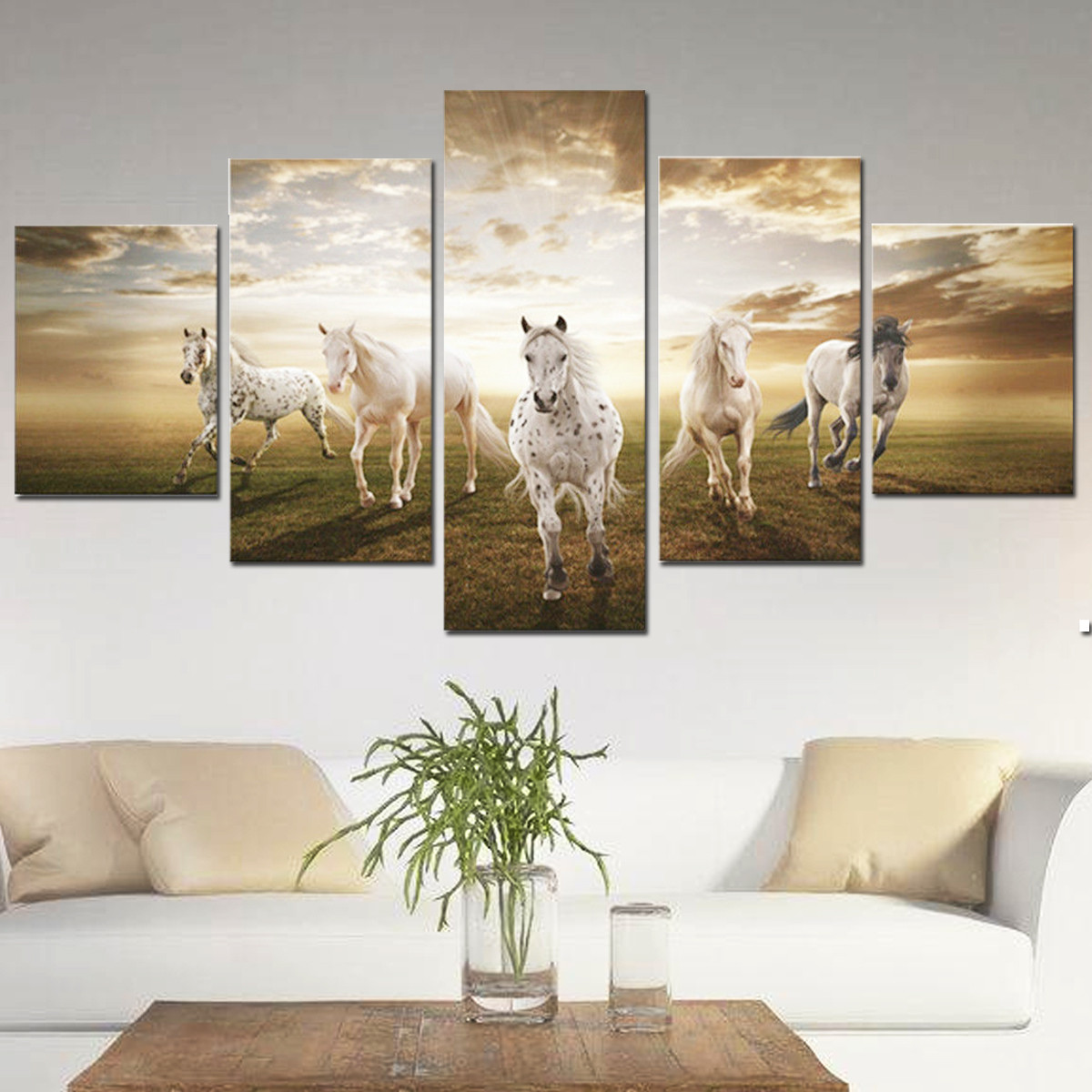 5Pcs Running Horse Oil Painting Picture Canvas Prints Modern Abstract Home  Wall Art Sticker Decor No