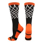 5f5ea0bea Crew Length Elite Basketball Socks with Net (Black/Orange, Large) - Black