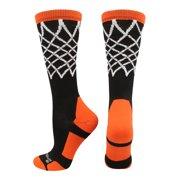 buy popular 3262b bbbbf Crew Length Elite Basketball Socks with Net (Black Orange, Large) - Black