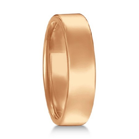 Euro Dome Comfort Fit Wedding Ring Men\'s Band 14k Rose Gold (5mm)