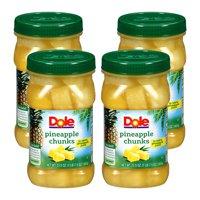(4 Pack) Dole Pineapple Chunks in 100% Pineapple Juice 23.5 oz. Plastic Jar