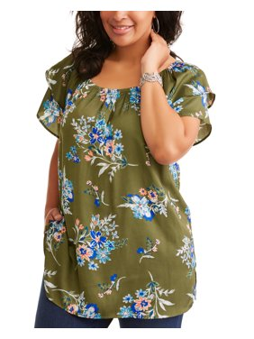 Women's Plus Double Layer Sleeve Peasant Top