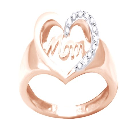 White Natural Diamond Accent Mom & Heart Ring In 14k Rose Gold Over Sterling Silver (0.02 Cttw)