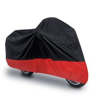 uxcell L 180T Rain Dust Motorcycle Cover Black+Red Outdoor UV Waterproof 86 Fit to Honda Kawasaki Harley Davidson