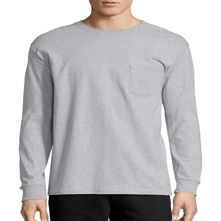 Deluxe Long Sleeve Shirt - Hanes Men's Tagless Cotton Long Sleeve Pocket Tshirt