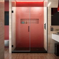 DreamLine Unidoor Plus 57-57 1/2 in. W x 72 in. H Frameless Hinged Shower Door in Satin Black