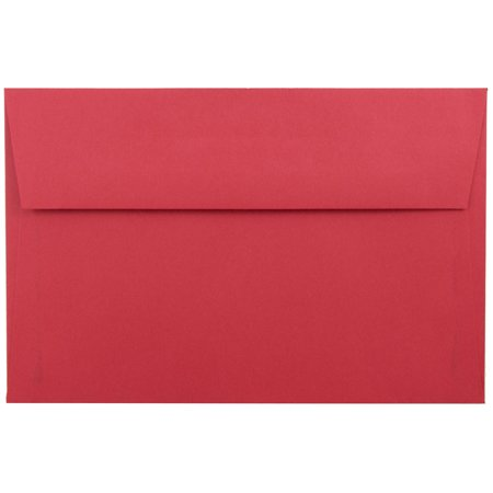 JAM Paper A9 Invitation Envelope, 5 3/4 x 8 3/4, Recycled Paper Envelope, Brite Hue Christmas Red 250/pack
