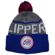 outlet store 05d39 12baf MITCHELL   NESS CUFFED KNIT POM BEANIE STRIPE LOGO NBA LOS ANGELES CLIPPER  By Mitchell Ness