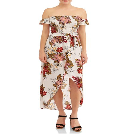 New Look Juniors' Smocked Off The Shoulder Floral Maxi Dress