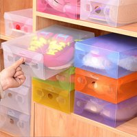 Girl12Queen Candy Color Clear Plastic Shoebox Lady Stackable Shoes Storage Box Drawer Unit
