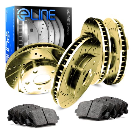 Brake Force Rotor - [COMPLETE KIT] Gold Drilled Slotted Brake Rotors & Ceramic Pads CGC.4602502
