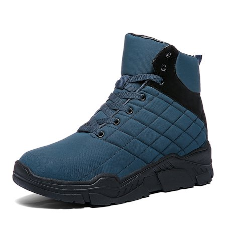 Shift Motorcycle Boots - Mens Winter Snow Boots Fur Lined Warm Ankle Booties Waterproof Slip-on Sneakers Lightweight High Top Outdoor Shoes