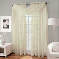 "Decotex 3 Piece Sheer Voile Curtain Panel Drape Set Includes 2 Panels and 1 Scarf (63"" Length, Orange)"