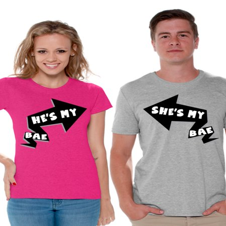 Awkward Styles He's My Bae She's My Bae Shirts for Couples Bae Matching Couple Shirts Happy Valentines Day Love Gift Idea for Couple Boyfriend and Girlfriend Cute Anniversary Gifts for Beloved - Aniversary Ideas