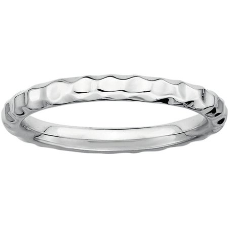 Sterling Silver Rhodium Hammered Ring