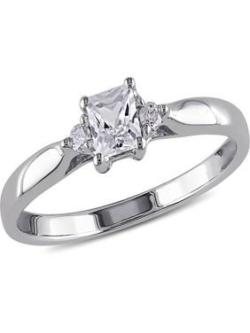 1/3 Carat T.G.W. Princess-Cut Created White Sapphire and Diamond Accent Sterling Silver Promise Ring