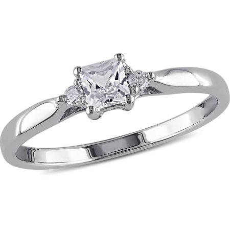 1/3 Carat T.G.W. Princess-Cut Created White Sapphire and Diamond Accent Sterling Silver Promise