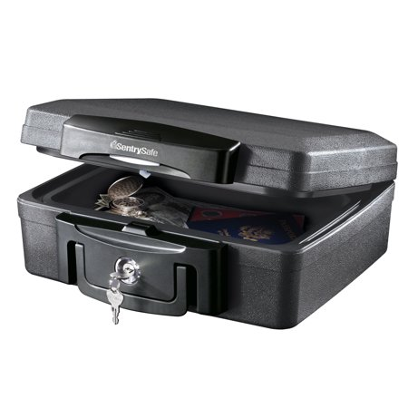 SentrySafe H0100 Fire-Resistant Box and Waterproof Box with Key Lock 0.17 cu (Shaft Key)
