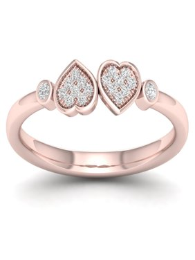 Imperial 1/20Ct TDW Diamond 10K Rose GoldHeart Twins Ring