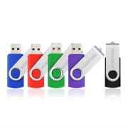 KOOTION 5 Pack 32GB USB 2.0 Flash Drive Thumb Drives Memory Stick, 5 Mixed Colors: Black, Blue, Green, Purple, Red