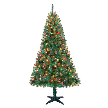 Holiday Time 6.5ft Pre-Lit Madison Pine Artificial Christmas Tree with 350  Multicolored Lights - Holiday Time 6.5ft Pre-Lit Madison Pine Artificial Christmas Tree
