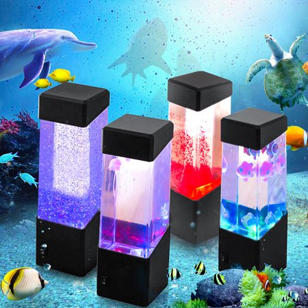 Colorful LED Jellyfish Tank Sea World Mini Aquarium Lamp Nightlight Night Light Bedside Desktop Home Decor for Kids Baby & Adults Bedroom Living Room ()