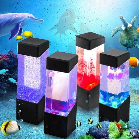 - Colorful LED Jellyfish Tank Sea World Mini Aquarium Lamp Nightlight Night Light Bedside Desktop Home Decor for Kids Baby & Adults Bedroom Living Room