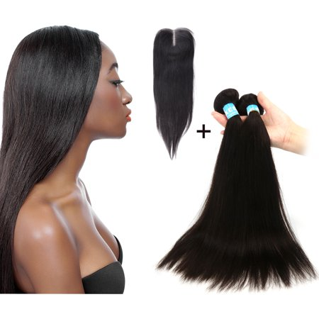 Hair Lace Front (Human Hair 2020 2 Bundles + 16 4x4 Middle Part Closure Front Lace Straight Brazilian Weave Wefts Extension 6A)