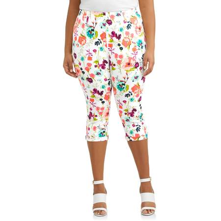 Women's Plus Size Printed Pull on 2 Pocket Jegging - Capri Pull On Shorts