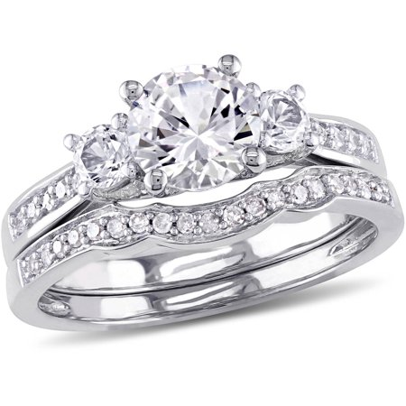 1-1/3 Carat T.G.W. Created White Sapphire with 1/7 Carat T.W. Diamond 10kt White Gold Three-Stone Bridal Set